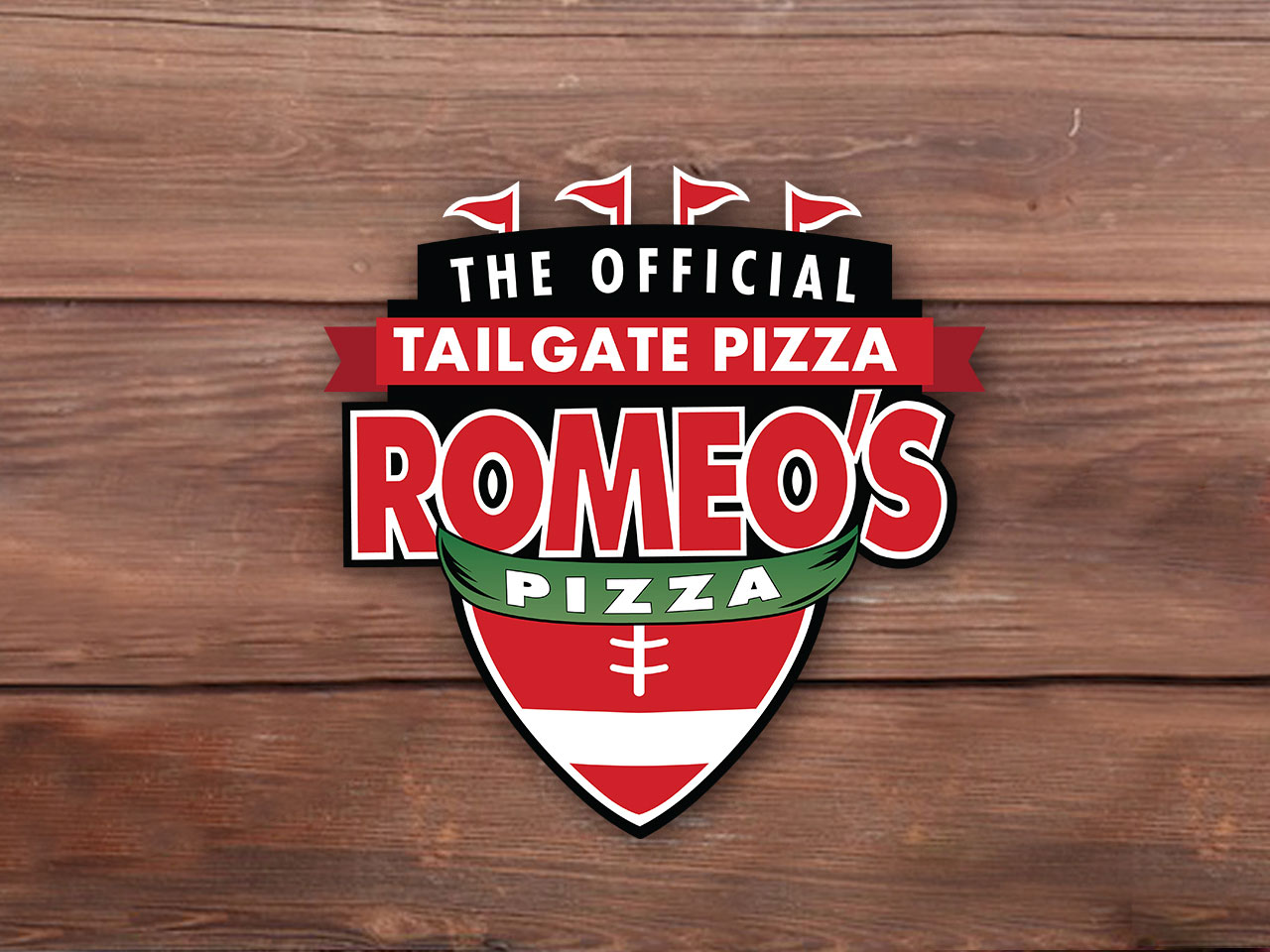 Romeo's Pizza tailgate graphic