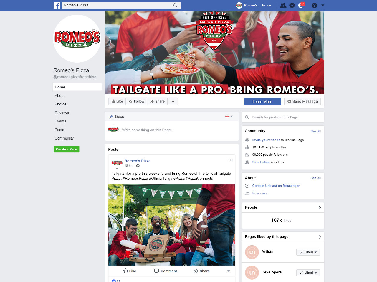 Romeo's Pizza Facebook page layout