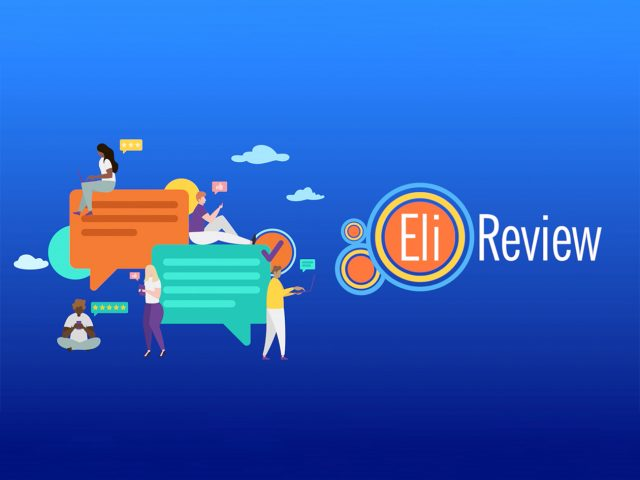 Eli review logo and illustration of students and instructors